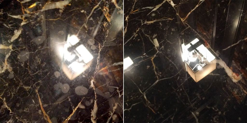 Marble repair etch removal