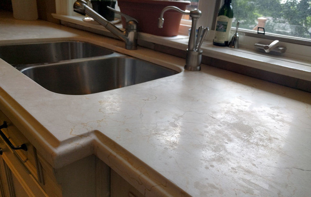 Etched crema marfil counter top