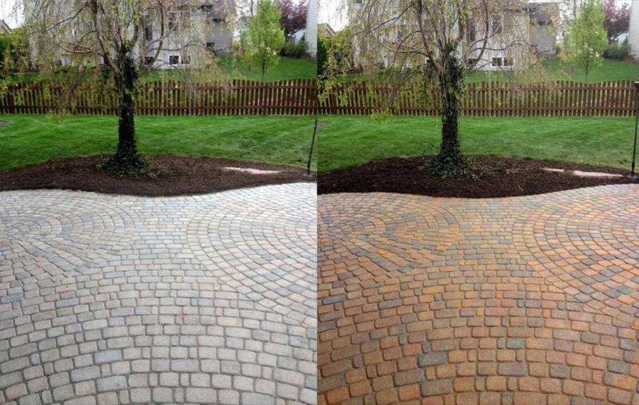 Colour enhancing sealer before and after application.