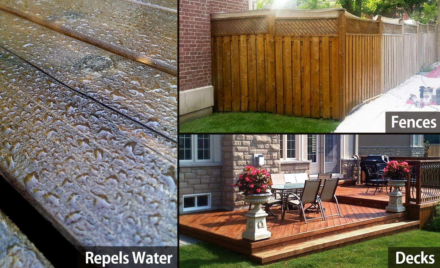 REPELS WATER FENCES DECKS wood stain